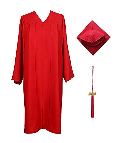 - GraduationService Matte Graduation Gown Cap Tassel 2018 and 2019 Charms for Bachelor and Ceremony Red