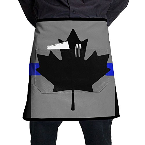 Cooking Canadian Bacon (Canadian Flag With Thin Blue Line Adjustable Apron With Pocket For Grilling Bacon Ladyâ€s Men's Great Gift For Wife Ladies Men Boyfriend)