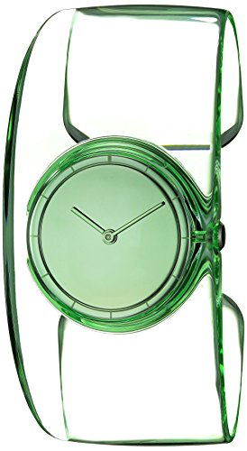 ISSEY MIYAKE Women's 'O' Quartz Stainless Steel and Plastic Casual Watch, Color:Green (Model: NY0W001Y)