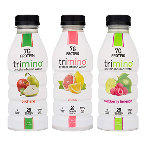 Trimino Protein Infused Water, All-Natural Variety Pack, 16 Ounce (Pack of 12)