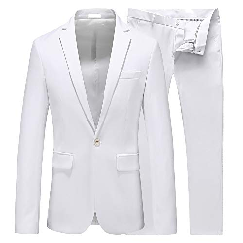 UNINUKOO Mens Slim Fit 2 Piece Single Breasted Jacket Party Prom Tuxedo SuitsUS Size 34 (Label Size XL) White