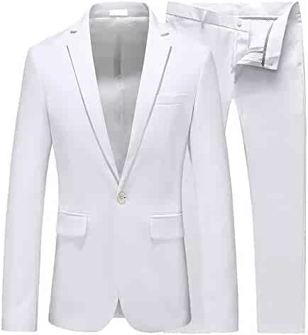 2f781a34d UNINUKOO Mens Slim Fit 2 Piece Single Breasted Jacket Party Prom Tuxedo  Suits