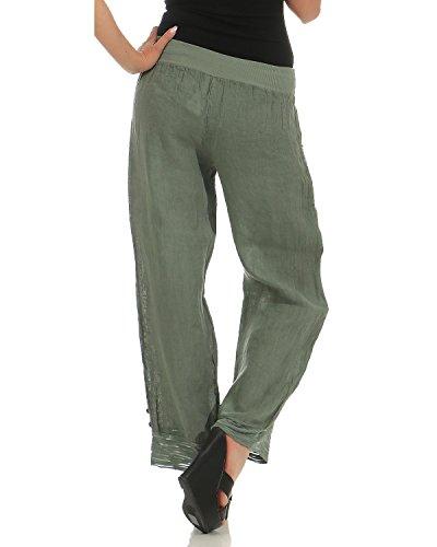 Slip Army Long Zarmexx Casual Été Linen Pants Femmes 7xY8wqTvZ