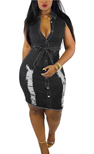LAJIOJIO Women's Casual Ripped Dress Button Down V Neck Bodycon Belted Denim Dresses Plus Size (Black, - Wide Jeans Belted
