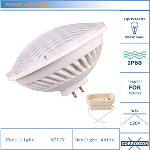 Kapata 500w Replacement Par56 Pool Light LED 36W 12V IP68 Waterproof for Pool Lighting, Fountains, Ponds, 120 Degree Daylight White 6000K, Base GX16D, Pack of 1 ()