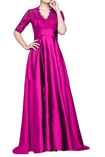 Festlichkleider Blau Abendkleider Dunkel mit Formalkleider Brautmutterkleider Charmant Ausschnitt V Damen Pink Kurzarm W7xS8fnqw6