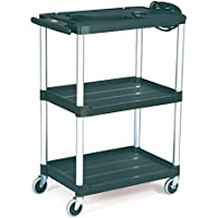 Rubbermaid Commercial Media Master Av Cart, 2-Shelf, Black