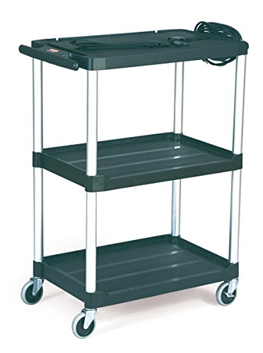 Rubbermaid 9T30 Black Media Master AV Cart with Two Shelves