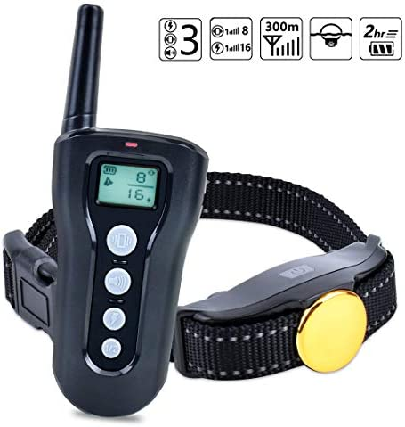 CutePet Remote Dog Training Collar – 330 Yard Range – Rechargeable Waterproof Dog Bark Shock Collar with Beep Vibration Shock Mode for Small Medium and Large Dogs