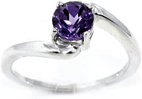 Created Alexandrite Round Ring .925 Sterling Silver Rhodium Finish