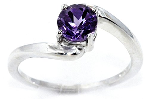 Alexandrite Round Ring - Created Alexandrite Round Ring .925 Sterling Silver Rhodium Finish