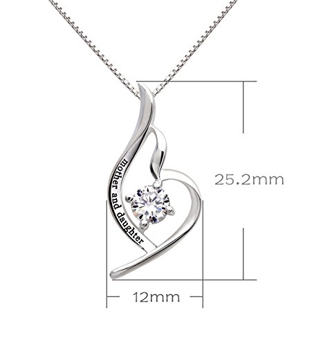 ALOV Jewelry Sterling Silver Mother and Daughter Cubic Zirconia Pendant Necklace
