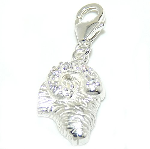 925 Solid Sterling Silver Dangling Clip-on Ram's Head with Clear Crystals Charm Pendant -