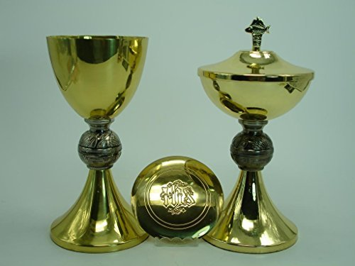 Brass Polished Arts (BJP-12 Christian Catholic Church Priest Chalice and Ciborium and Paten Set Polished Brass Finish)