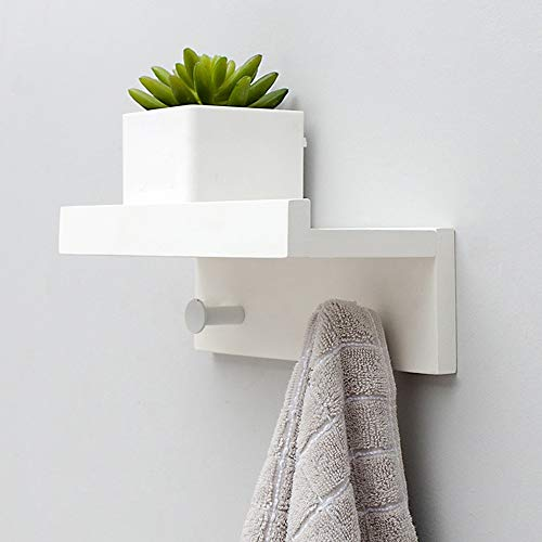 Bedroom Oak Coat Rack - Chunlan Coat Racks Solid Wood Coat Rack Wall-Mounted Entrance Bedroom Living Room Multifunction Hanger (Color : White, Size : 22.7128cm)