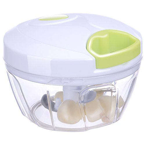 Migecon Manual Food Chopper with 3-Blades:a Compact and Powerful Hand Held Vegetable Slicer/Dicer as Seen on TV