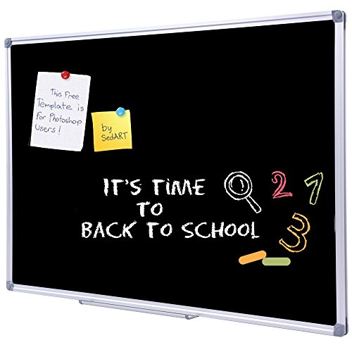 36 x 48 inch School Large Black Chalkboard for Wall, Hanging Magnetic Black Chalk Board with Aluminum Frame and Marker Tray by DexBoard (Image #7)