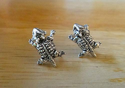 Sterling Silver Small 13x10mm Horned Toad Frog Stud Posts Earrings!