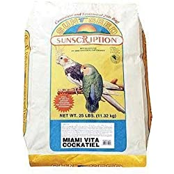 Sun Seed Company BSS14451 Miami Vita Mix Cockatiel Food, 25-Pound