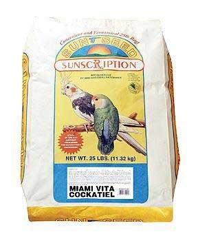 Sun Seed Company BSS14451 Miami Vita Mix Cockatiel Food, 25-Pound