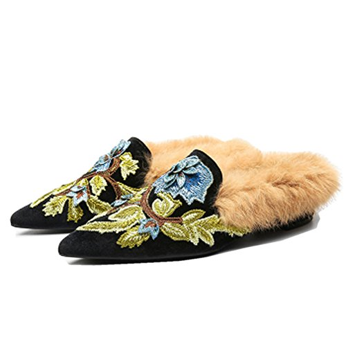 Backless Kmeioo Lamb Loafers Toe Slip Mule Womens Velvet Mule Slides Florals Fur On Plush slipper with Pointed Embroidery Black Shoes zrRqwzE7x