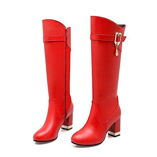 AllhqFashion Mujeres Cremallera Puntera Redonda Tacón Robusta Caña Media Botas con Colgantes Rojo