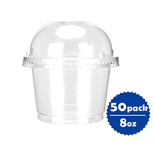 Containers Dome Lid (OTOR 8oz Hot/Cold Disposable Plastic Cups with Dome Lids - 50 Sets - Ice Cream Cups, Snack bowl, Take Away Food Container for Dessert Fast food Soup)