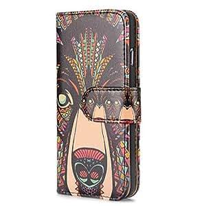 WQQ fresco lobo estilo tribal patrón de la carpeta del tirón magnético PC + caja de cuero de la PU para el iphone 6