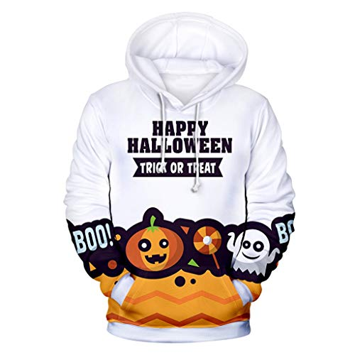 LOUJSB - Unisex 3D Digital Printing Pullover Hoodie Hooded Sweatshirt with Big Pockets(XXS-4XL) White (Best Tech Cyber Monday Deals 2019)