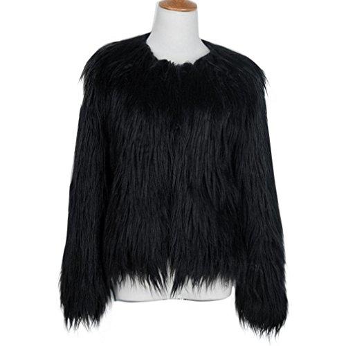 KaloryWee para Cálida Sintética Mujer Invierno de Negro de Piel Abrigo Mujer Parka Abrigo para Fox Ywnr7SxYq