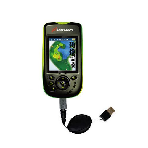 V300 Type - Compact and retractable USB Power Port Ready charge cable designed for the Sonocaddie v300 GPS and uses TipExchange