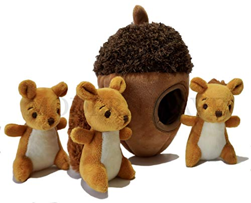 MODERN WAVE – Squeaky Plush Dog Toy – Interactive Hide and Seek Squirrel Type Puzzle Toy for Dogs, Small Size (Nut and Squirrels)