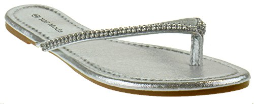 Top Moda Saturn 1 Womens Rhinestone Flat Thong Sandals Silver ()