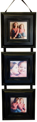 My Barnwood Frames - Ribbon Hanging Picture Frame Collage 3, 5x5 Openings (Black)