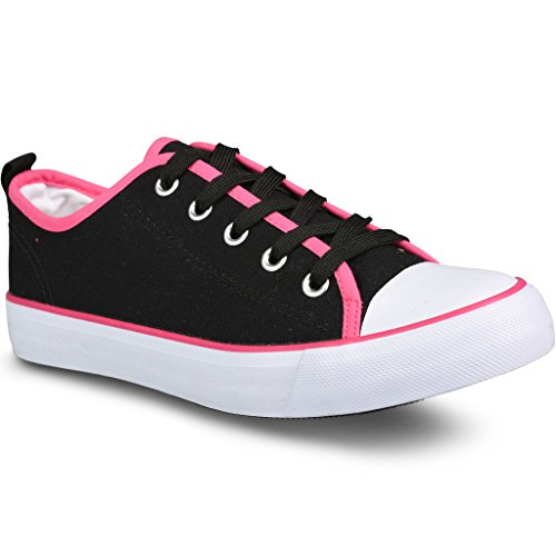 Vridna Kvinna Kix Lo-top Canvas Pop Färg Gräns Snör Åt Upp Mode Sneakers Svart W / Pink