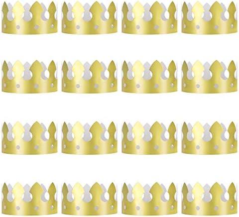 QIMEI-SHOP Goldene König Kronen 16 Stück Goldfolie Papier Party Krone Hut Kappe für Geburtstagsfeier Baby Dusche Foto Requisiten