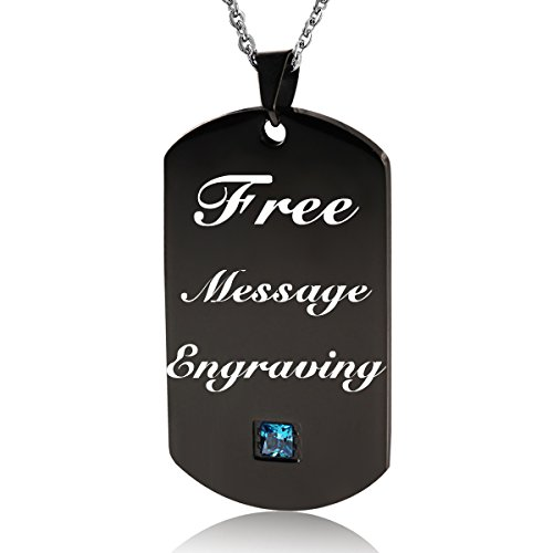 """NEHZUS Stainless Steel Plain Dog Tag Pendant Necklace with 22"""" Chain (Free Engraving) (Black with Blue Stone)"""
