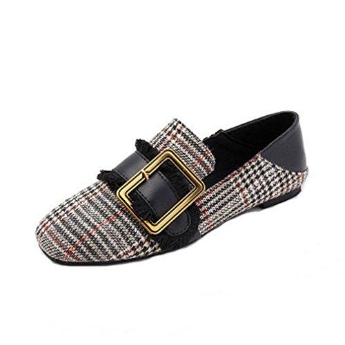Giy Kvinners Klassisk Spenne Penny Loafers Flats Firkantet Tå Slip-on Grid  Kjole Uformell Loafer