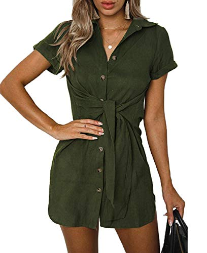 (Qearal Womens Button Down Collar Front Tie Long Shirt Dress Blouse Mini Dress Army Green,M)