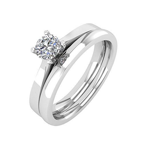18K White Gold Diamond Engagement Wedding Ring Bridal Set (1/4 carat) - IGI Certified