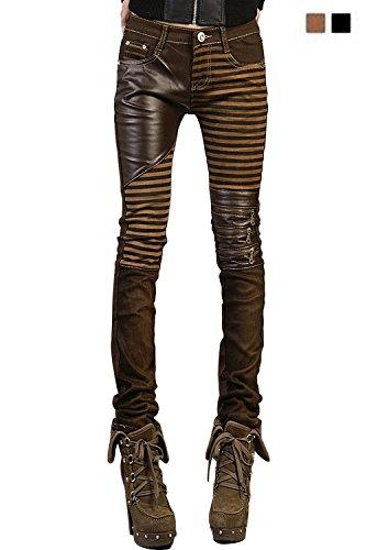 VASHOP Women's Leather Steampunk Pants Skinny Legging Tights Pencil Pants 4