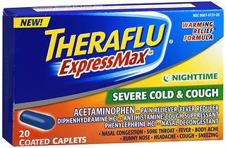 Theraflu ExpressMax Nighttime Severe Cold & Cough Coated Caplets - 20 ct