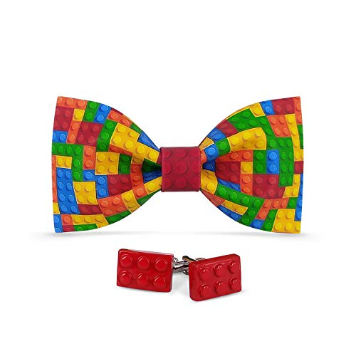 Lanzonia Men's Funny Colorful Pattern Bowtie and Cufflinks Bow Tie Set