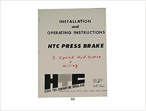 Htc Hydraulic Press Brake Installation Operating Instruction
