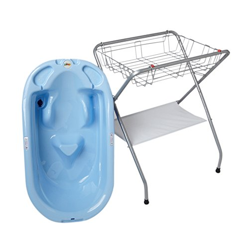Primo EuroBath and Folding Compact Bath Stand -Blue Bath / Gray Stand by Primo