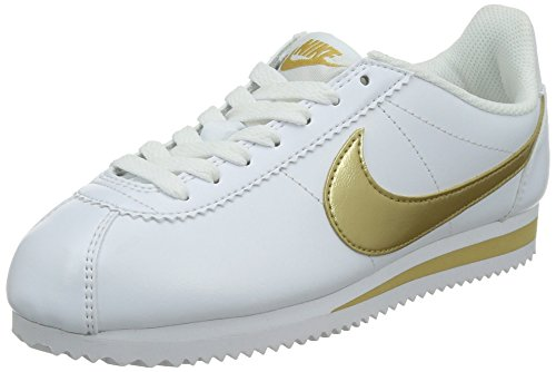 Nike Womens Classic Cortez Leather Sneakers #807471-171 White/Gold (Large Image)