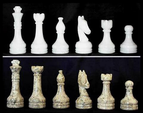 Khan Imports Large Carved Stone Chess Pieces, Replacement Marble Chess Pieces Only - Complete Set ()