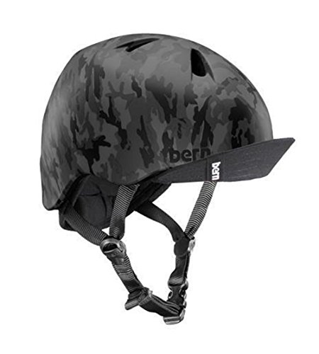 Bern Unlimited Jr. Nino Summer Helmet with Visor, Matte Black Camo, S/M