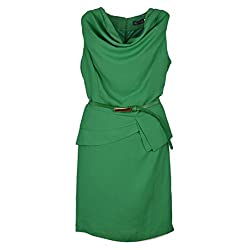 Crepe Wrinkle Neck Spell Sleeveless Tiny Dress With Belt Green 8P