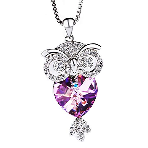 Women's Necklace-Perfect Holiday Gift -Fashion Personality Owl Crystal Necklaces- Hypoallergenic/Adjustable, Chain 16